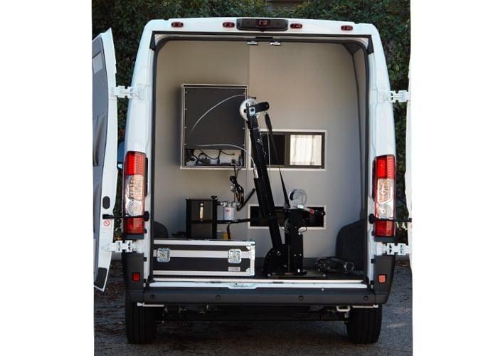 Boom Camera Vehicle Mounted in Back of Van