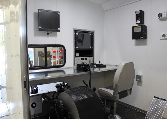 DC-5150 Trailer System Interior: Winch, Control Unit, Monitors, Joystick
